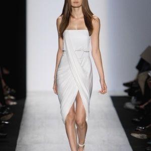 BCBG Max Azria Strapless White Dress Drape XS 2